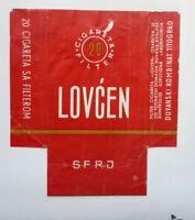 OLD VINTAGE YUGOSLAVIAN CIGARETTE - TOBACCO PACKET LABEL. LOVCEN 20s