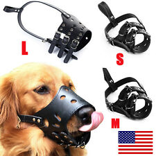Adjustable Anti-Biting Pet Dog Soft Pu Leather Muzzles Mouth Mesh Cover S-L Usa