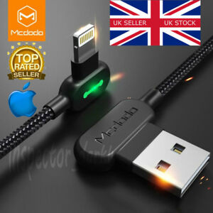 MCDODO 0.5M L-Shaped LED Lightning to USB Fast Charge Data Cable For Apple