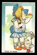 "Valentines Day postcard Raphael Tuck ""Don'ts"" Series Doll Dog Puppy Pie Vintage"