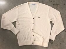 Vintage Mens XL 70s 80s IZOD Lacoste white pearl Acrylic knit Cardigan Sweater