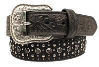 Ariat Western Mens Belt Leather Calf Hair Rhinestones Studded Black A1035501