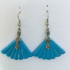 LOVELY ART DECO STYLE TURQUOISE BLUE POLYMER FAN SILVER PLATE DROP EARRINGS HOOK