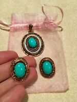 Vintage solid copper pendant and clip earrings faux turquoise  .From 1970s