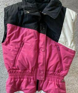 Women's Vintage White Stage Ski Vest, Reversible Black, Pink, White M