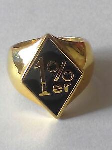 Bronze 1% er Logo Diamond Face Ring Black Enamel Custom Size MC Chopper R-117b