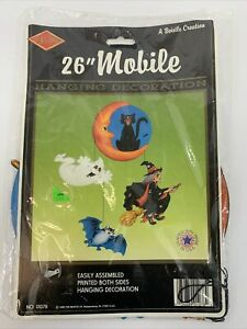 """Beistle Halloween 26"""" Mobile Ghost Witch Bat and Black Cat Vintage Paper"""