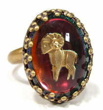 SoHo® Ring Sternzeichen Widder vintage altgold bronze bohemia oval 18/13 volcano