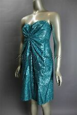 $2495 New REDUX Charles Chang Lima Teal Blue Green Sequin Strapless Dress 4