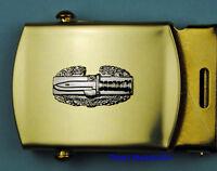 COMBAT ACTION BADGE Army black Web Belt &  brass buckle  CAB B455