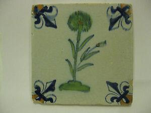 Antique Dutch Polychrome Tile Tiles 17th century -- free shipping