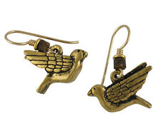 *NEW* Laurel Burch DOVE Bird Antiqued Gold Lead Free Made In The USA Earrings