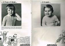 PUBLICITE  1968    ABSORBA  vetements de 0  à 4 ans1/2 ( 2 PAGES RECTO VERSO)
