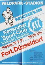 Karlsruher SC KSC Fortuna Düsseldorf 1. Bundesliga 10. Mai 1991 Plakat Wildpark