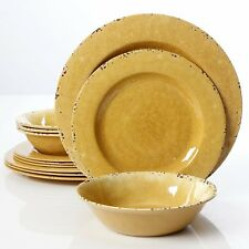 Rustic 12 Pcs. Durable Melamine Dinner Set Service For 4 - Mustard Yellow