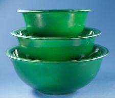 Vtg Pyrex Dark Green Clear Bottom Nesting Bowls Lot of 3