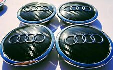 4 Tappi Coprimozzo AUDI 69mm A3 A4 A5 A6 TT Q5 Q7 Cerchi Lega Borchie Carbonio