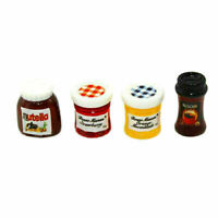 4PCS Dollhouse Mini 1:12 Kitchen Food Jam Coffee Condiment Decoration DIY P Y4F5