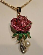 Betsey Johnson Fashion Jewelry RED CRYSTAL ROSE w/ FAUX PEARL Woman's Pendant