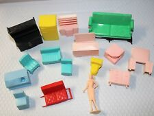 Vintage Lot of 15 Plastic Dollhouse Toy Furniture Superior & Other