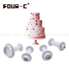 FOUR-C 4 Pcs Round Flower Fondant Cookies Plunger Cutter Mold  Cake Decorating