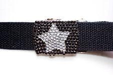 Las correas Niño/cinturón de Lona con Hebilla Negro + Claro Rhinestones Estrella - 5 cinturones