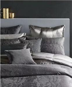 Donna Karan Moonscape King Duvet Cover+Two Standard  Shams Charcoal.Brand New!