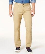 Tommy Hilfiger Men's Shield-Print Custom-Fit Chino Pants,Beige, 42Wx30L