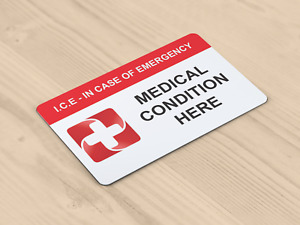 In Case of Emergency (ICE) Custom Printed Medical Alert Card -Free 1st Class P&P