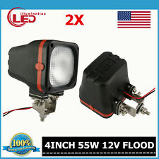 Pair 4inch 55W HID XENON LIGHT TRUCK FOG Boat OFFROAD 4WD 12V FLOOD SQUARE 35W