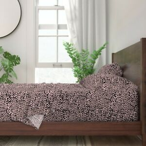 Wild Animal Print Spots Peach Pink 100% Cotton Sateen Sheet Set by Roostery