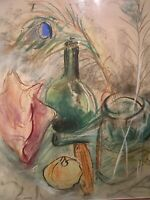 MID CENTURY MODERN STILL LIFE BOTTLE VINTAGE ABSTRACT SIGNED 1968