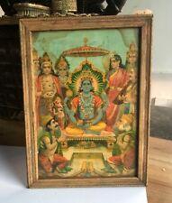Antique Old Very Rare Ravi Varma Press Original Hindu Lord Vishnu Litho Print