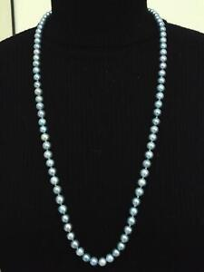 """Genuine Silver Blue Rainbow Hue Pearl Necklace 30"""" Strand Pearls 7.5~ 8.5 mm"""