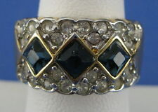 and Clear Rhinestones Size 7 Fashion Cocktail Ring Blue Cubic Zirconia