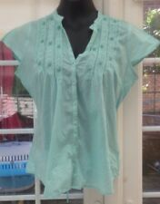 BHS PALE AQUA CAP SLEEVED THIN LACE TRIMMED BLOUSE - SIZE 14