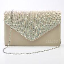 57373ee1630 Womens Satin diamante Clutch Bag Evening Bridal Bag Wedding Fashion Prom  Handbag