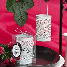 12 White Metal Filigree Candle Holders Bridal Shower Wedding Favors