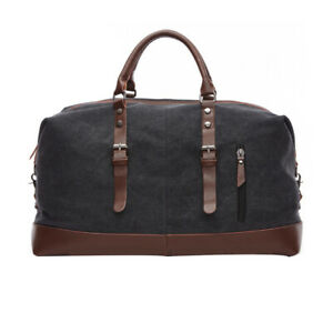 Classic Men's Canvas Leather Travel Duffle Bag Shoulder Weekend Luggage Gym Tote