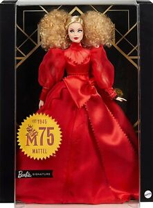 """Barbie Collector Mattel 75th Anniversary 12"""" Doll Blonde Curly Hair in Red Gown"""