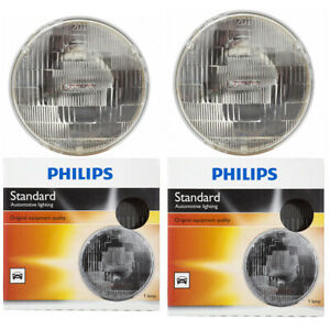2 pc Philips High Low Beam Headlight Bulbs for Dodge 330 440 A100 Pickup jf