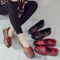 Women's Leather Slipper Loafers Comfort Soft Slip On Ballet Flat Pumps Shoes AU