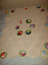 Hand Crafted Crochet Afghan Throw Scalloped Edge Ivory with Flowers USA 24x43