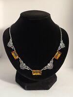 Art Deco Filigree Czech Glass Spinel Necklace
