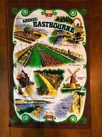 Vintage Made in Britain Cotton Tea Towel Eastbourne Seven Sisters Beachy Head