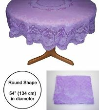 Tablecloth Table Cloth Cover Sheet Circle Round Shape Plastic purple 54 inches