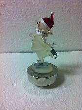 "MUSICAL SKATING SNOWMAN FIGURINE PLAYING ""RUDOLPH THE RED NOSED REINDEER NIB"