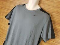 NIKE Dri-Fit Gray And Black Short Sleeve Training Shirt Mens Size XL