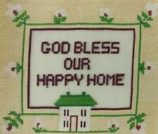 God Bless Our Home Cross Stitch Finished Religious Motto Floral Multi Color Gvc