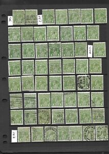Stamps Australia KGV 1d Green Heads x 49 Good Used/Fine Used w/ 7 LMW